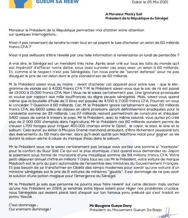 Communiqué de Mr Bougane Gueye Dany Président du Mouvement Gueum Sa Bopp